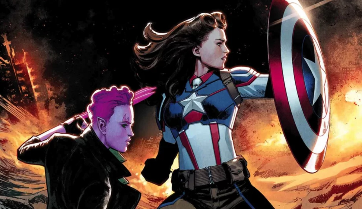 "Peggy Carter as Captain America on the cover of Marvel Comics' ""Exiles"" #3, by David Marquez"