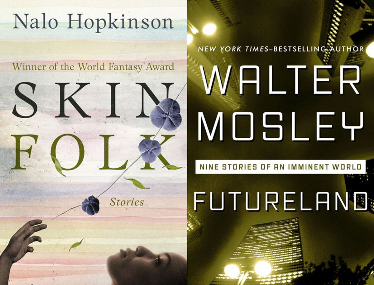 nalo hopkinson skin folk & walter mosley futureland book covers