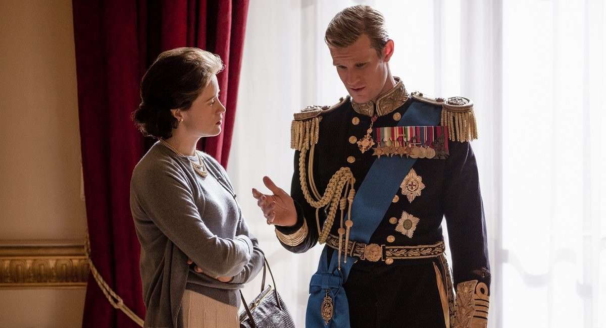 "Queen Elizabeth (Claire Foy) and Prince Philip (Matt Smith) in ""The Crown"""