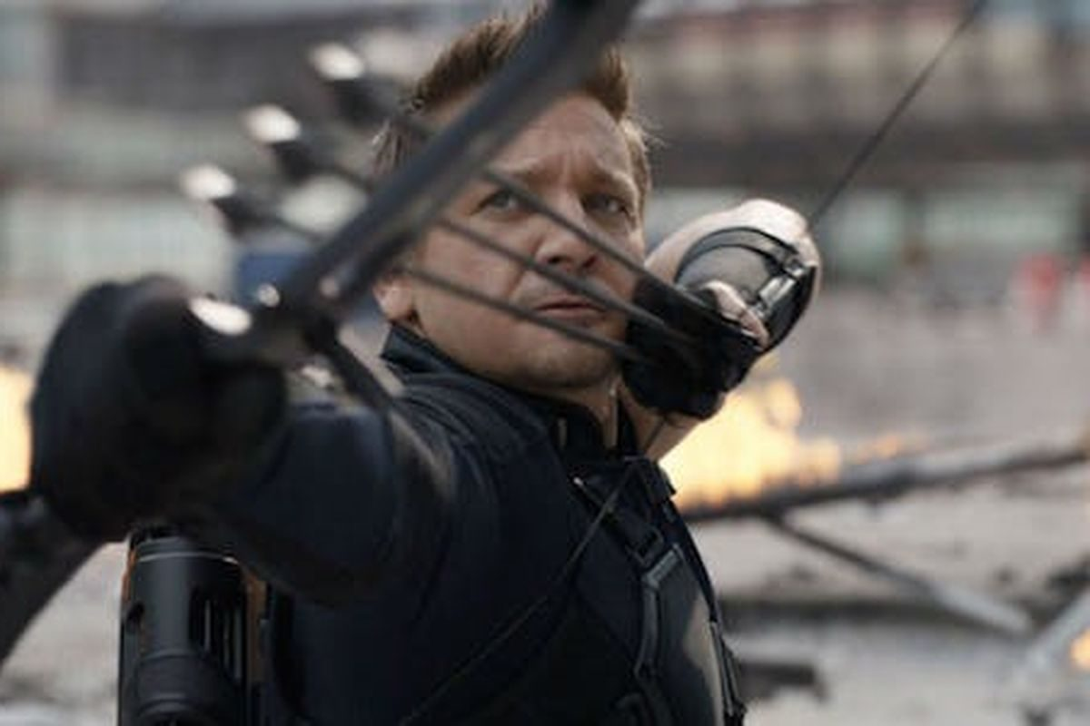 Hawkeye fires his very serious bow and arrows