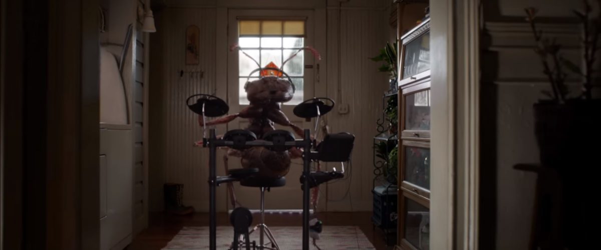Ant playing drums in 'Ant-Man and the Wasp' from Marvel