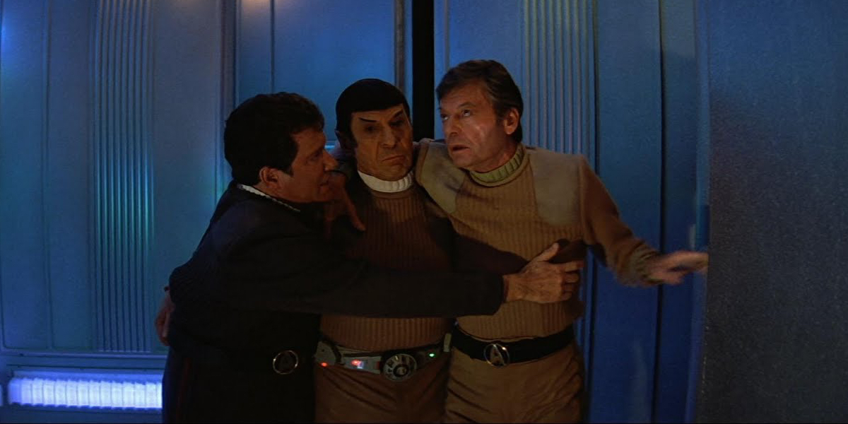 Star Trek V: The Final Frontier stars William Shatner, Leonard Nimoy, and DeForest Kelley