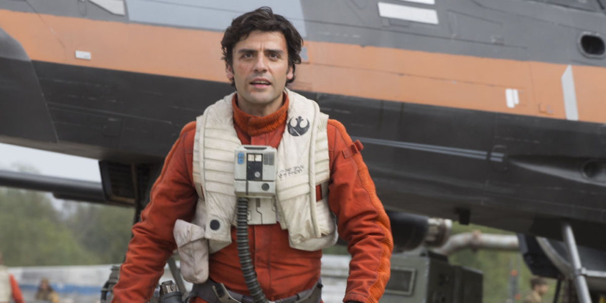 Poe Dameron (Oscar Isaac) heads into action in Star Wars Episode VII: The Force Awakens