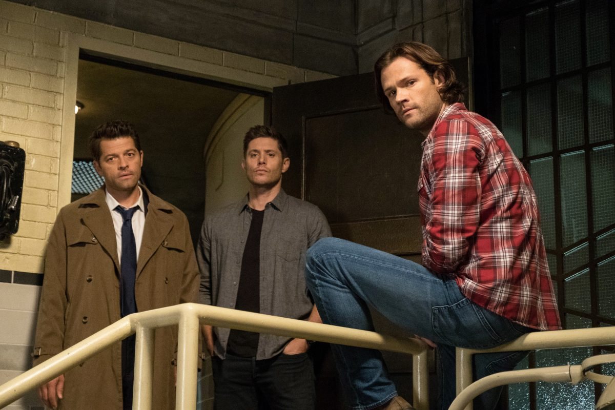 "Supernatural -- ""Unhuman Nature"" -- Image Number: SN1407c_0257b.jpg -- Pictured (L-R): Misha Collins as Castiel, Jensen Ackles as Dean and Jared Padalecki as Sam -- Photo: Cate Cameron/The CW -- © 2018 The CW Network, LLC All Rights Reserved"