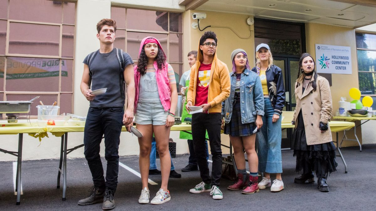 "Runaways -- ""Gimme Shelter"" Episode 201 -- The kids struggle with their new lives as Runaways, but find a hideout. Alex goes to work for Darius while PRIDE plots to kill Jonah. Jonah initiates a plan to build a new box. Chase Stein (Gregg Sulkin) from left, Molly Hernandez (Allegra Acosta), Alex Wilder (Rhenzy Feliz), Gert Yorkes (Ariela Barer), Karolina Dean (Virginia Gardner) and Nico Minoru (Lyrica Okano), shown."