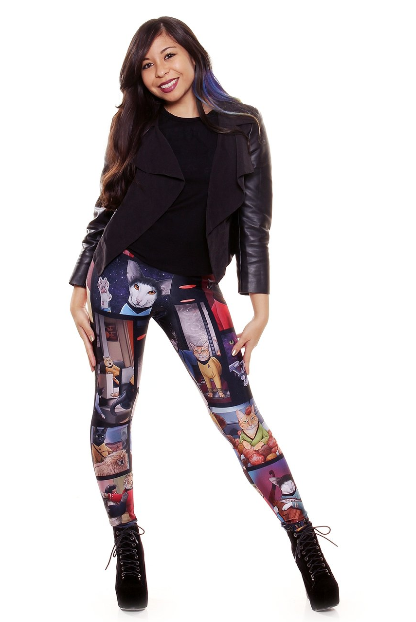 Beam me up a pair of these cute Star Trek cat leggings from Gold Bubble Clothing