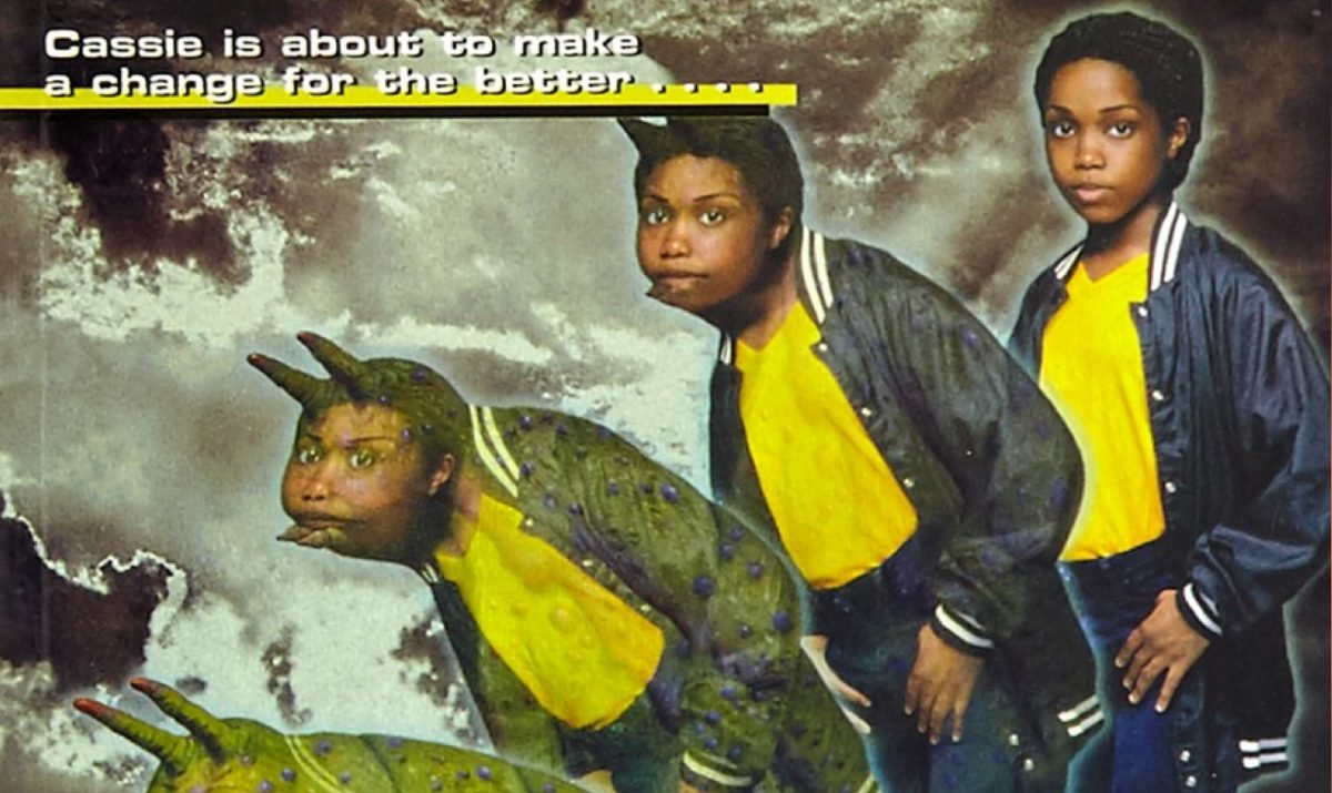 animorphs book cover depicting cassie morphing into a yeerk