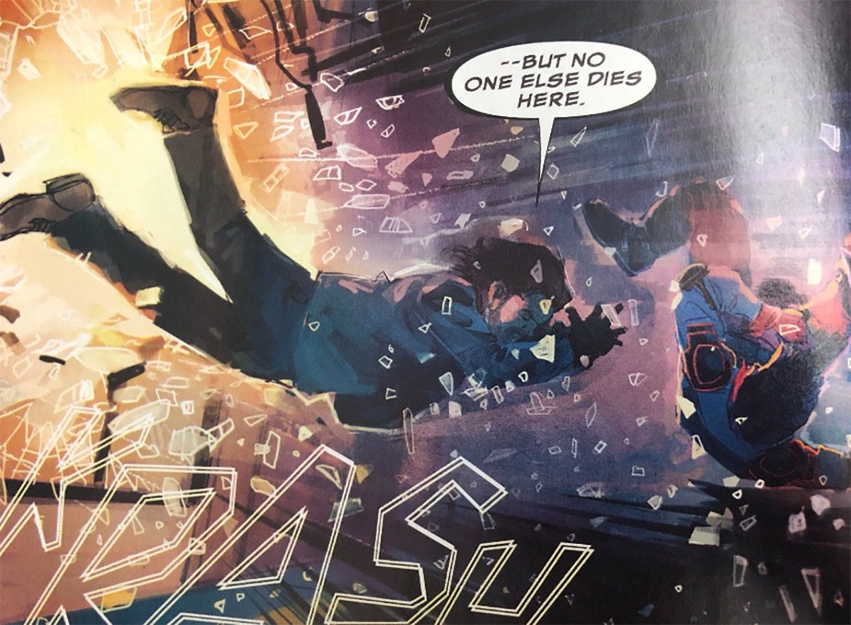 bucky barnes crashing through glass in marvel's winter soldier comic issue 2