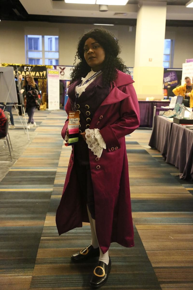 """yana Colby attends BroadwayCon as """"Hamilton""""'s Thomas Jefferson and shows off her growing badge ribbon collection. (image: Alexa Strudler)"""