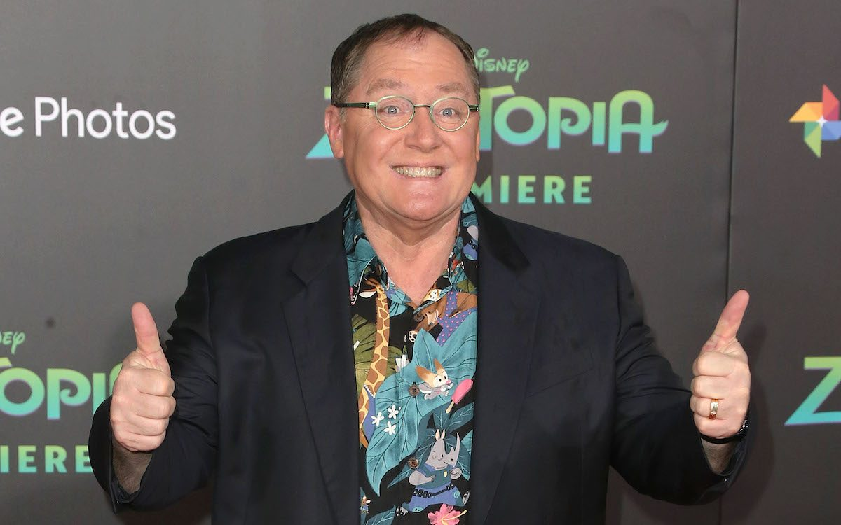 John Lasseter at the El Capitan Theatre giving a thumbs up