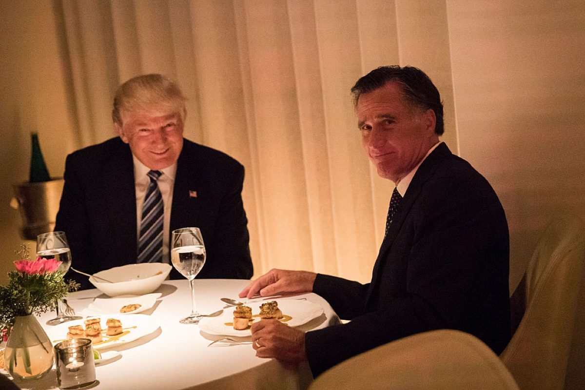 NEW YORK, NY - NOVEMBER 29: (L to R) President-elect Donald Trump and Mitt Romney dine at Jean Georges restaurant, November 29, 2016 in New York City. President-elect Donald Trump and his transition team are in the process of filling cabinet and other high level positions for the new administration. (Photo by Drew Angerer/Getty Images)
