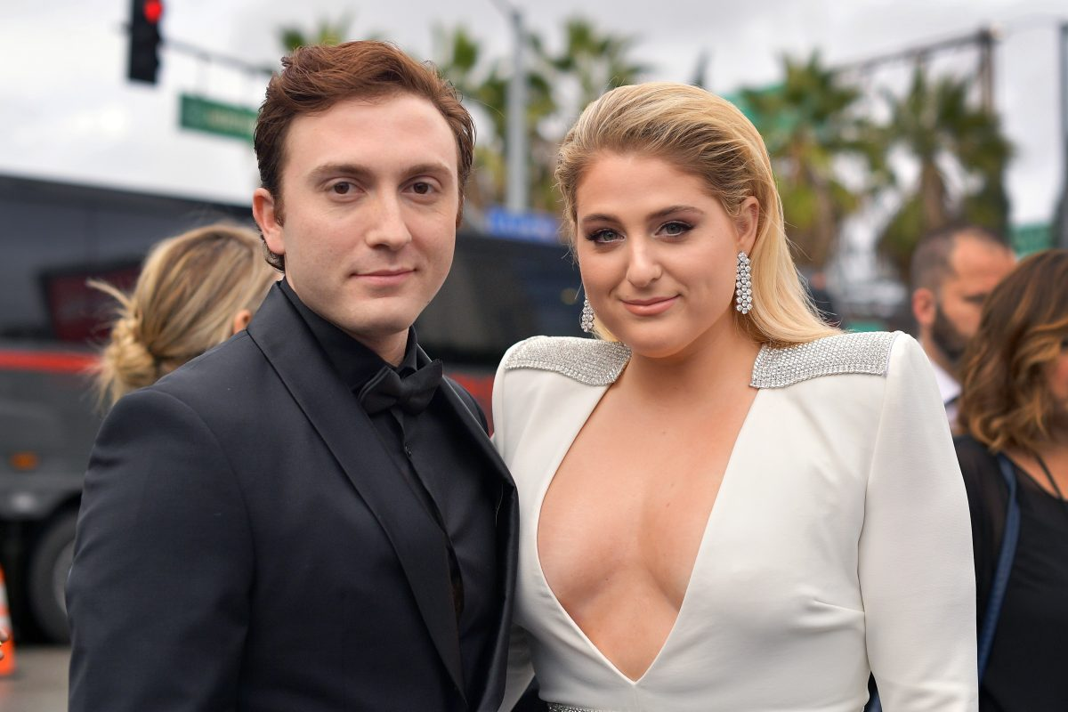 daryl sabara and meghan trainor on the red carpet for the Grammys
