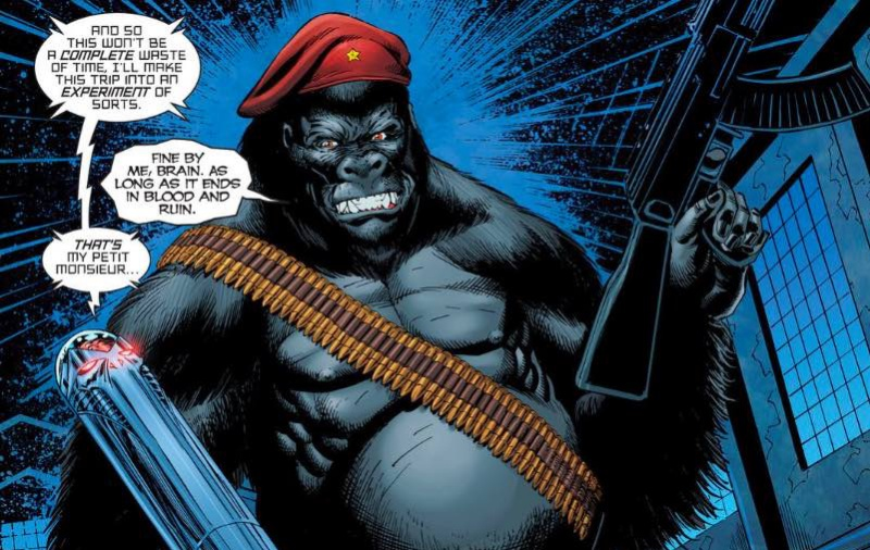 Monsieur Mallah and Brain together with monsieur wallah holding a machine gun and his brain love