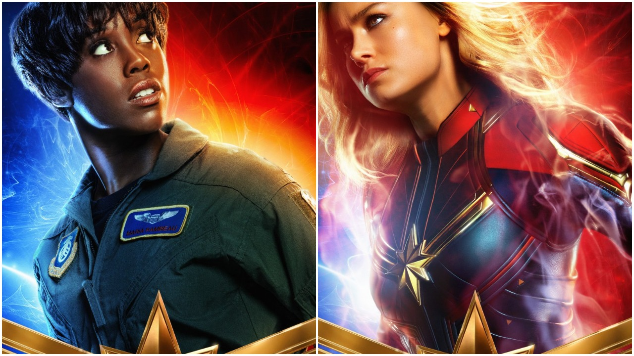 Maria Rambeau (Lashana Lynch) and Captain Marvel (Brie Larson) stand tall on the film's character posters.
