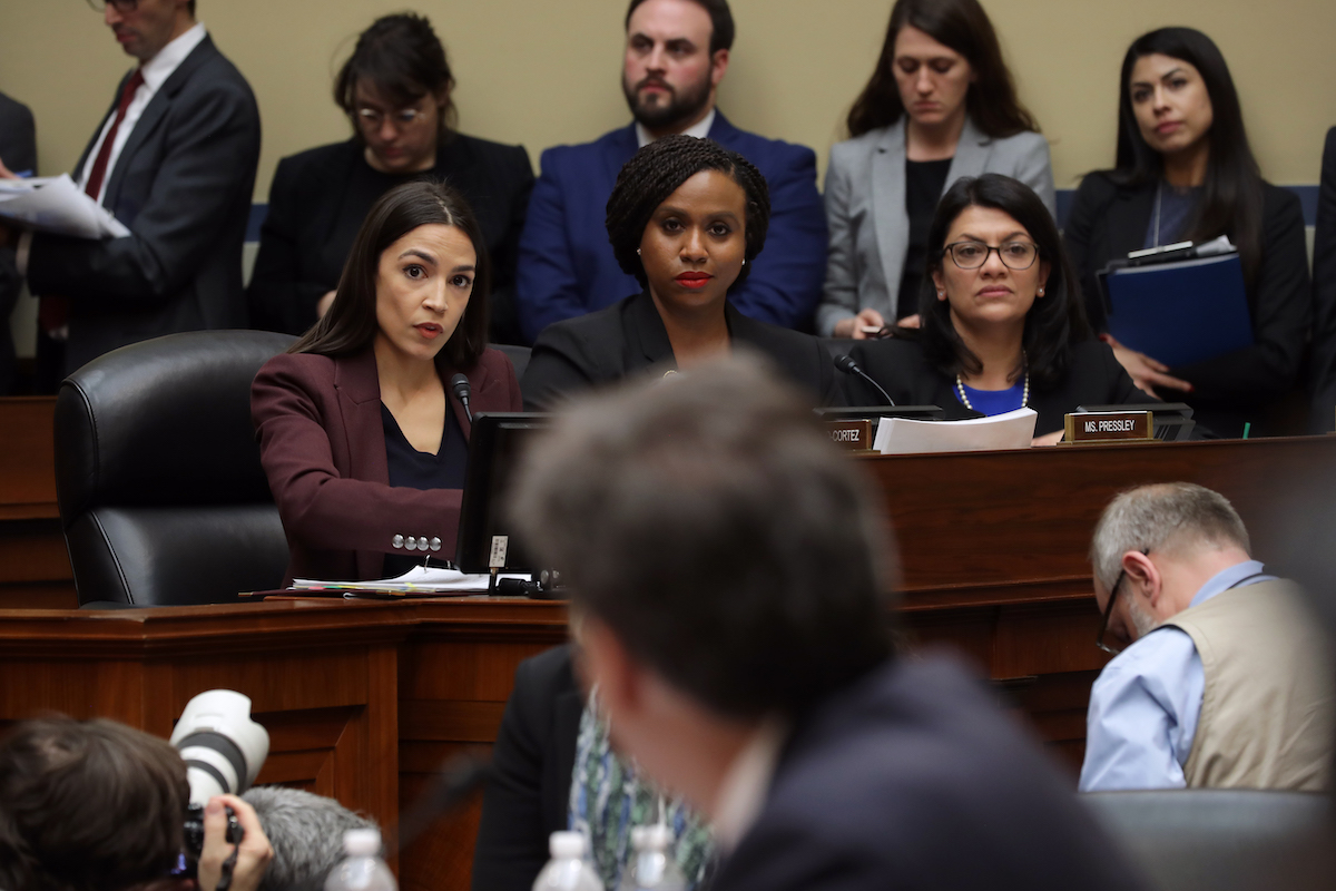 Rep. Alexandria Ocasio-Cortez, Rep. Ayanna Pressley and Rep. Rashida Tlaib are an intimidating force at a congressional hearing.