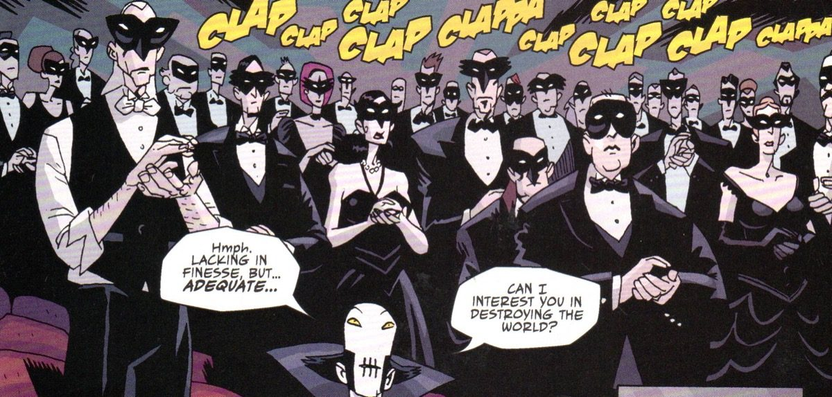 Audience members clapping with the Conductor in the Umbrella Academy comic.