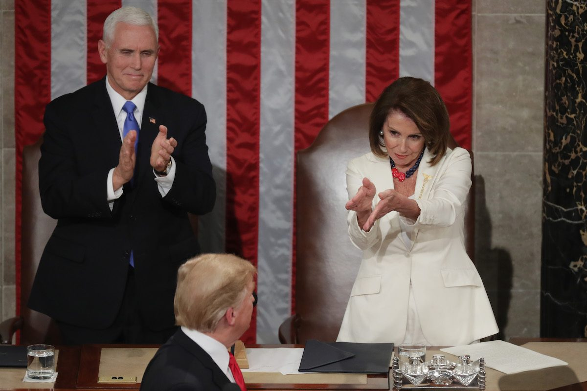 Nancy Pelosi sarcastically claps at Donald Trump's State of the Union Address