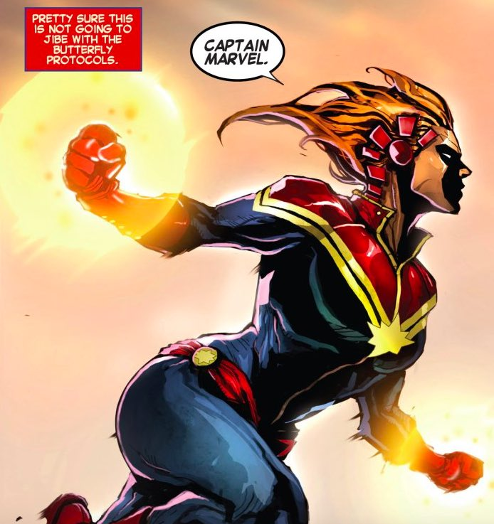 Captain Marvel flying and about to do some damage in the comics.