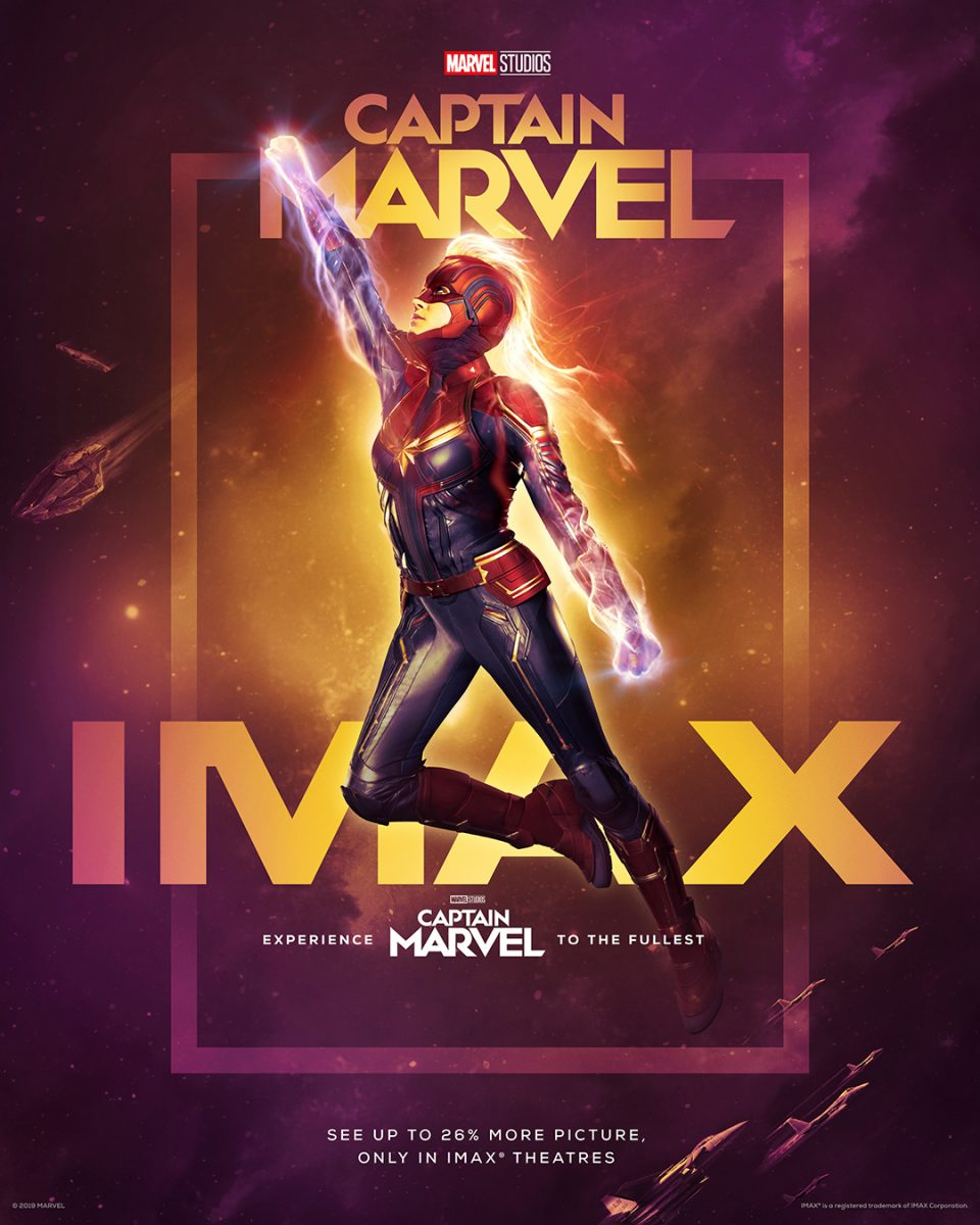 captain marvel in imax poster with brie larson.