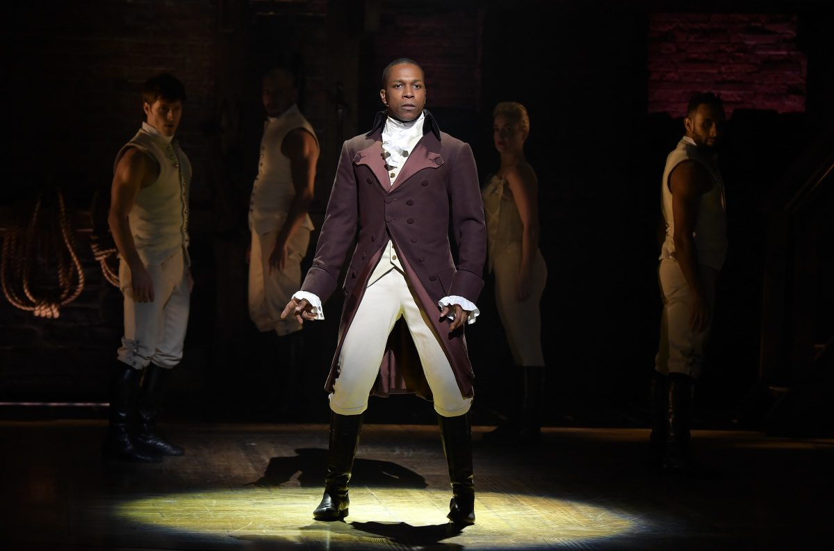 "LOS ANGELES, CA - FEBRUARY 15: Actor Leslie Odom, Jr. performs on stage during ""Hamilton"" GRAMMY performance for The 58th GRAMMY Awards at Richard Rodgers Theater on February 15, 2016 in Los Angeles City. (Photo by Theo Wargo/WireImage)"