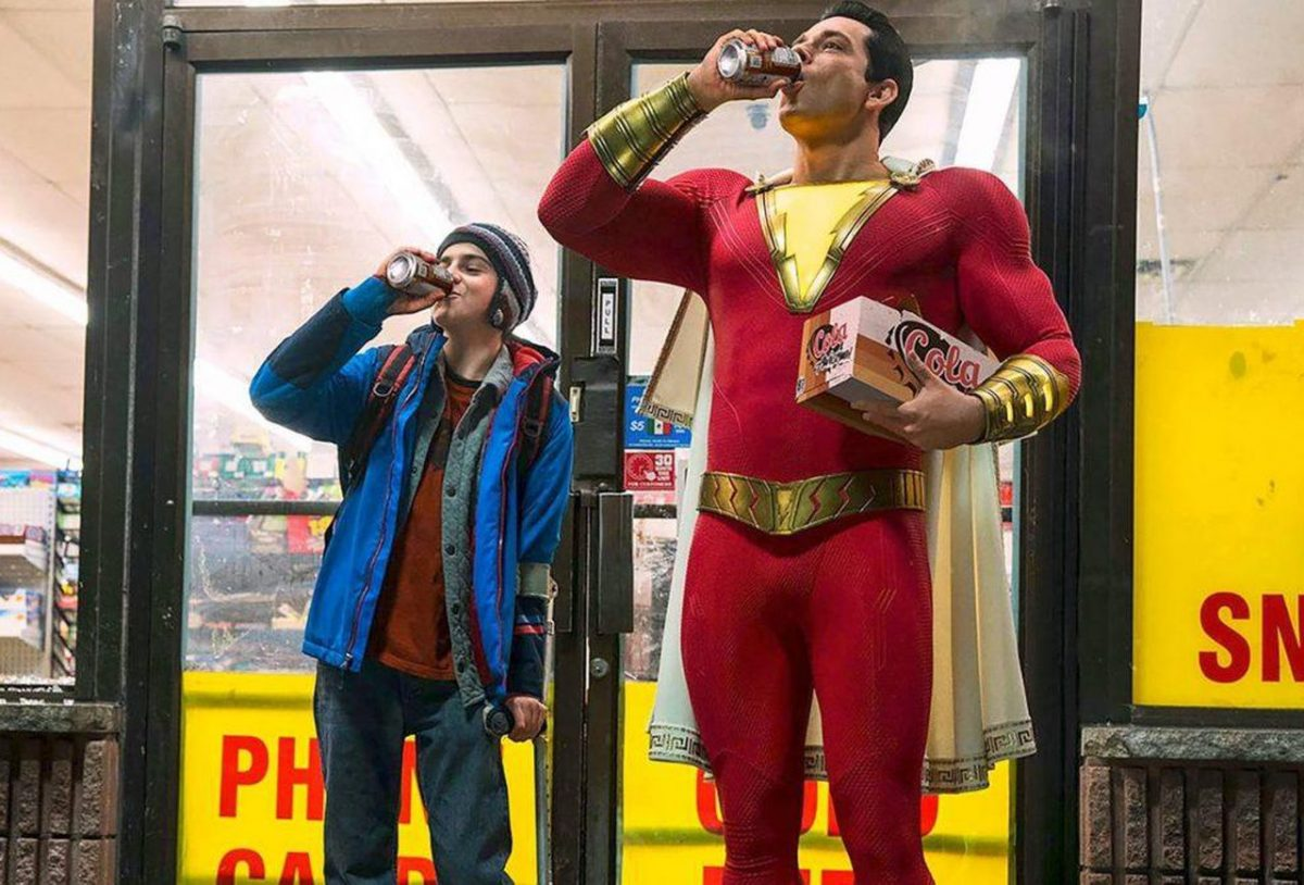 Zachary Levi and Jack Dylan Grazer as Shazam and Freddy Freeman in DCEU's Shazam.