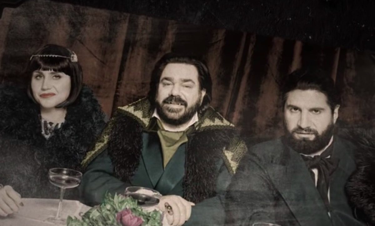An old photograph of vampires from the What We Do in the Shadows tv show.