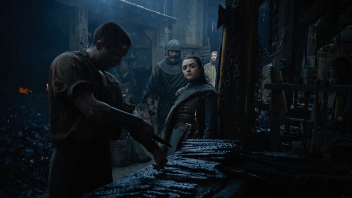 Joe Dempsie and Maisie Williams in Game of Thrones (2011) as Arya looks at Gendry realizing that she's gonna tap that so hard the way only a rich girl can