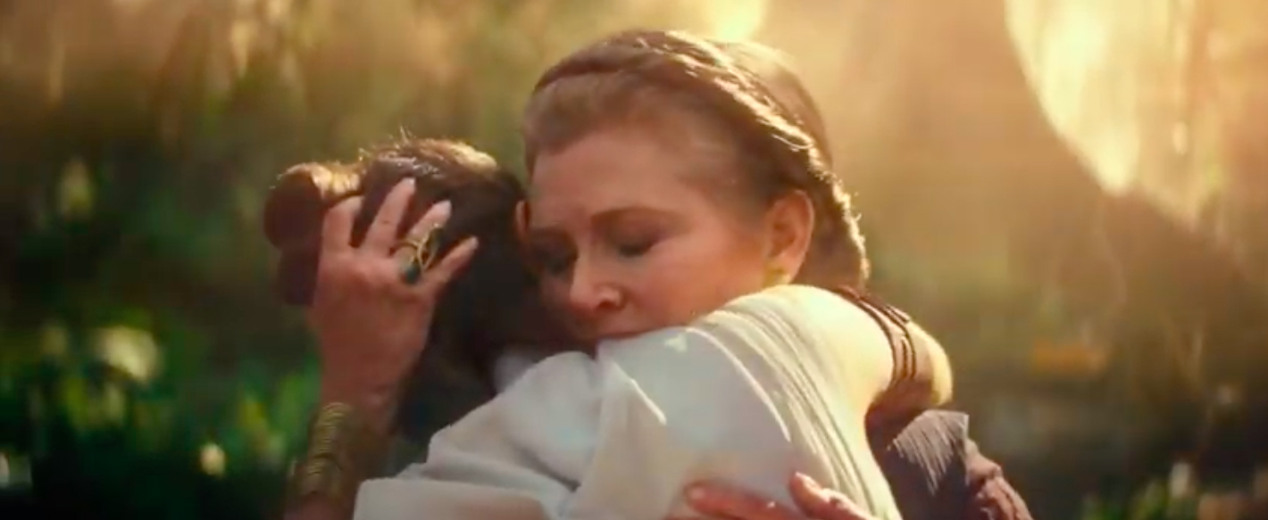 Leia Organa and Rey in Star Wars Episode IX: The Rise of Skywalker