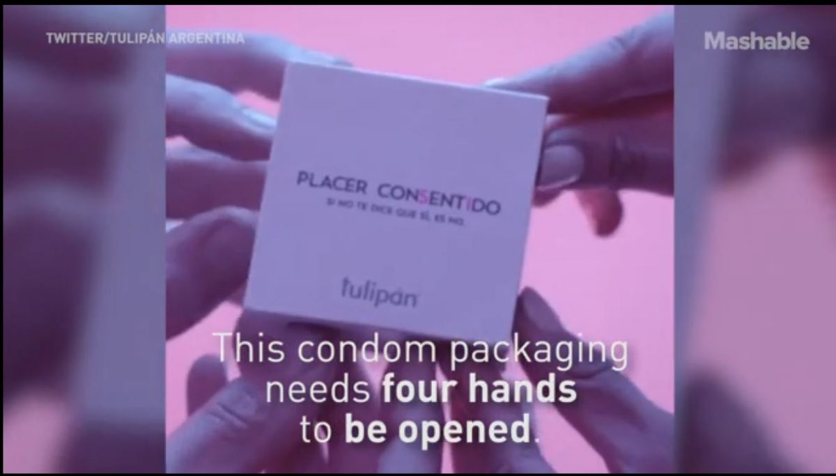 tulipan consent condom needs four hands to open it.