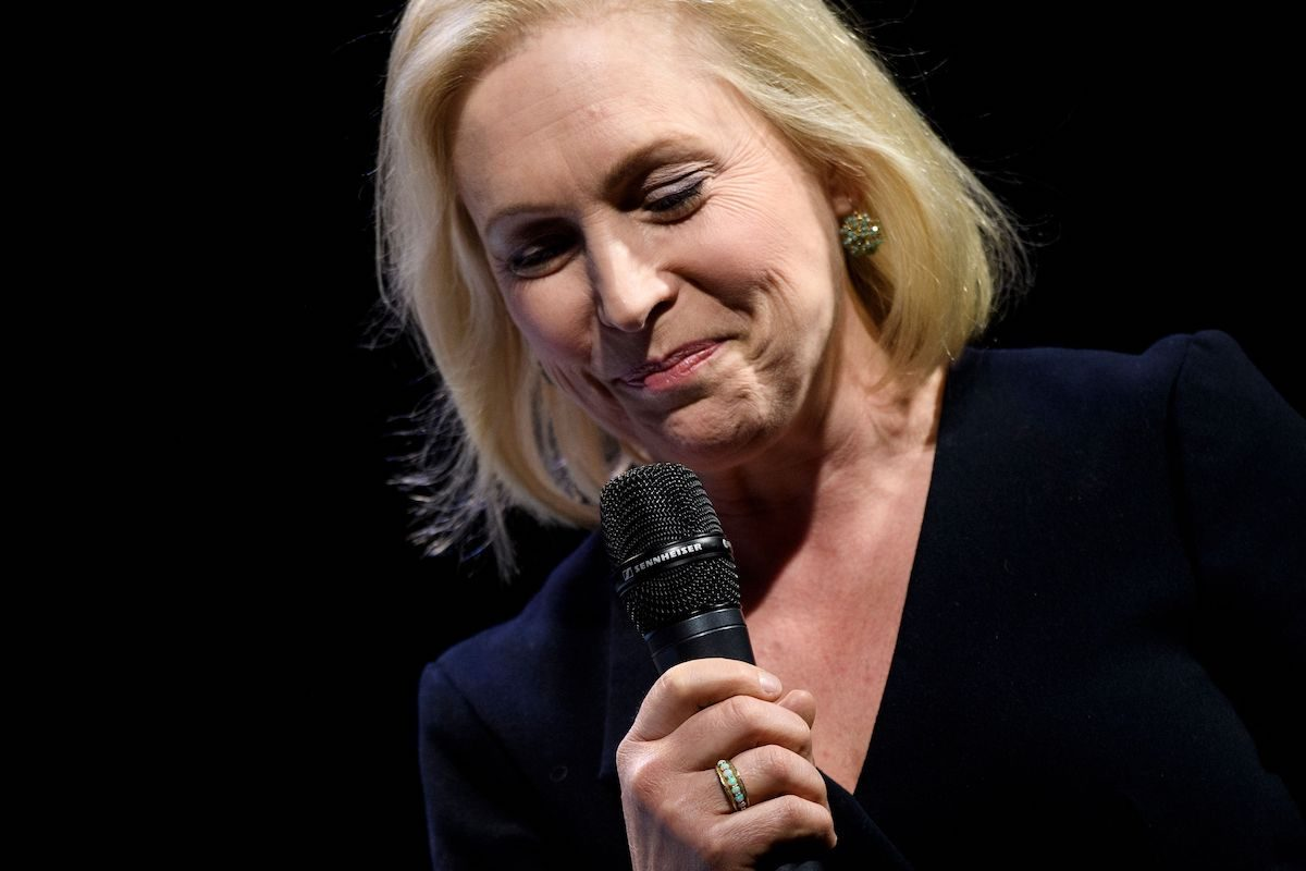 "Kirsten E. Gillibrand (D-NY), a 2020 US Presidential hopeful, speaks during the ""We The People"" Summit at the Warner Theatre"