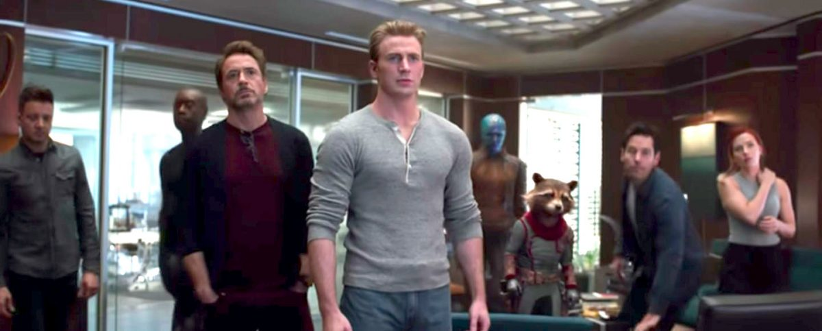 The remaining Avengers in a conference room in Avengers: Endgame.