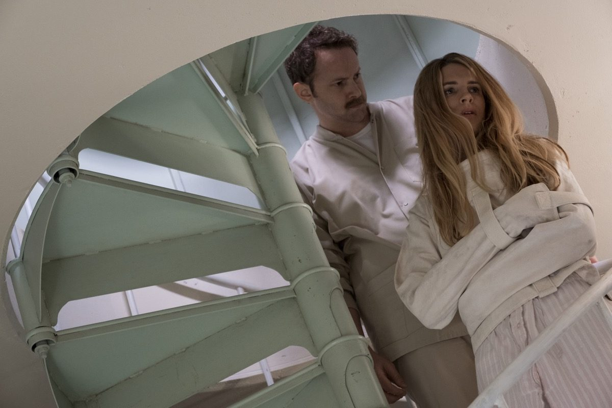 Brit Marling wearing a straight jacket in Netflix's The OA.