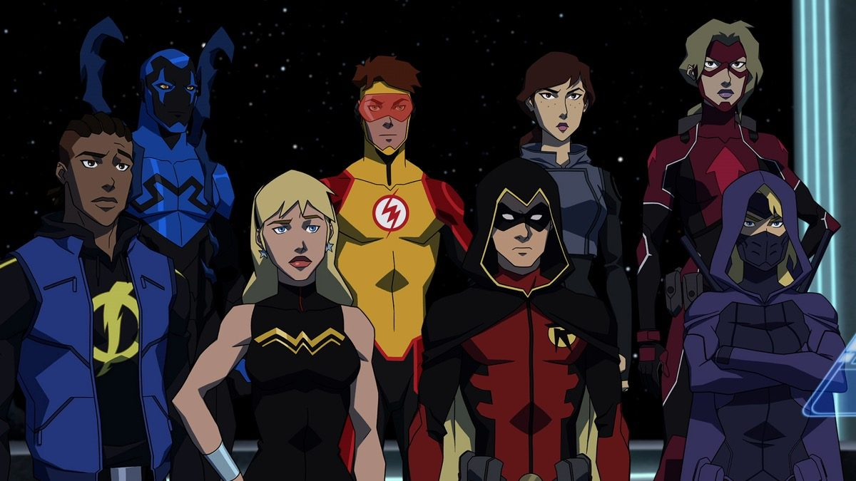 The Young Justice: Outsiders superhero team standing together.