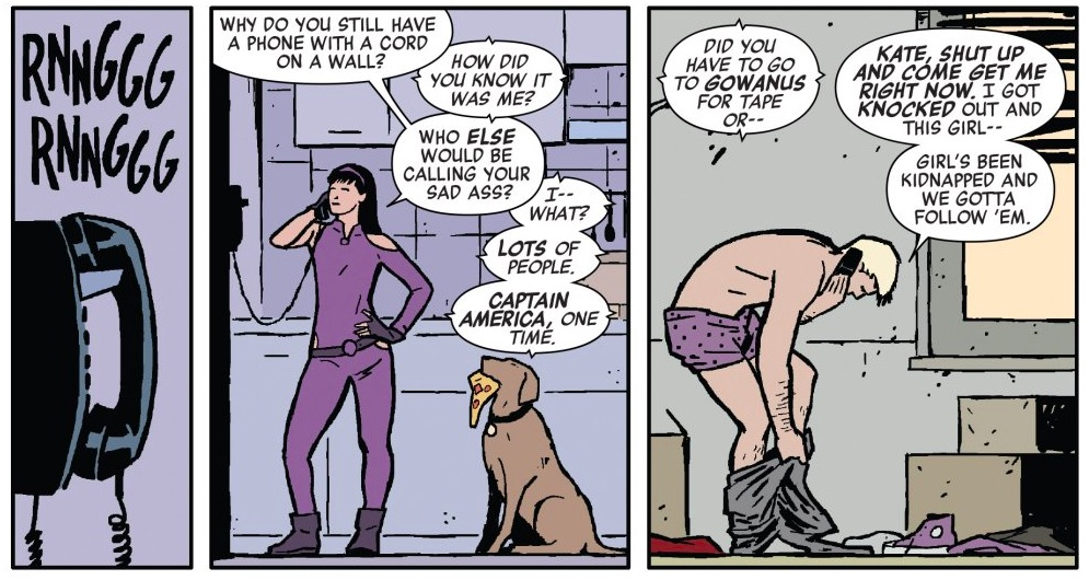 Kate Bishop and Clint Barton in Marvel Comics.