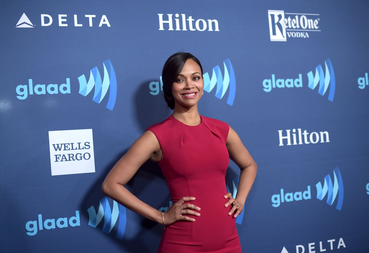 Actress Zoe Saldana attends the 26th Annual GLAAD Media Awards at The Beverly Hilton Hotel on March 21, 2015 in Beverly Hills, California. (Photo by Jason Kempin/Getty Images)