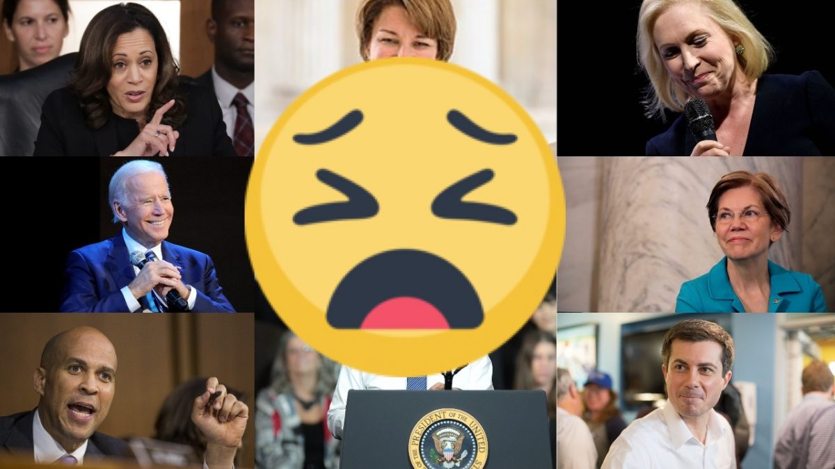Some of the many democratic 2020 candidates with a weary face emoji superimposed.