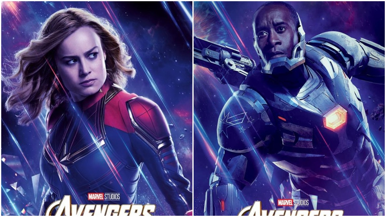 """Carol Danvers (Brie Larson) and James """"Rhodey"""" Rhodes (Don Cheadle) suit up to fight Thanos and twitter trolls in the poster for Avengers: Endgame."""
