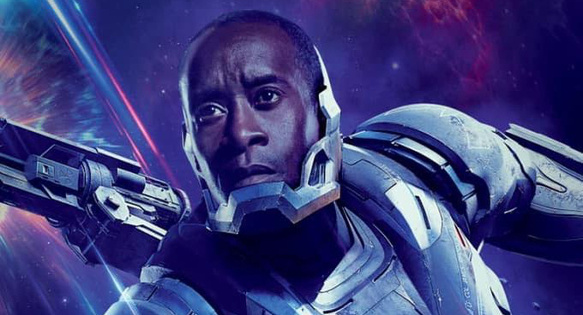 Rhodey, a.k.a. War Machine, readies himself for the fight against Thanos in the poster for Avengers: Endgame