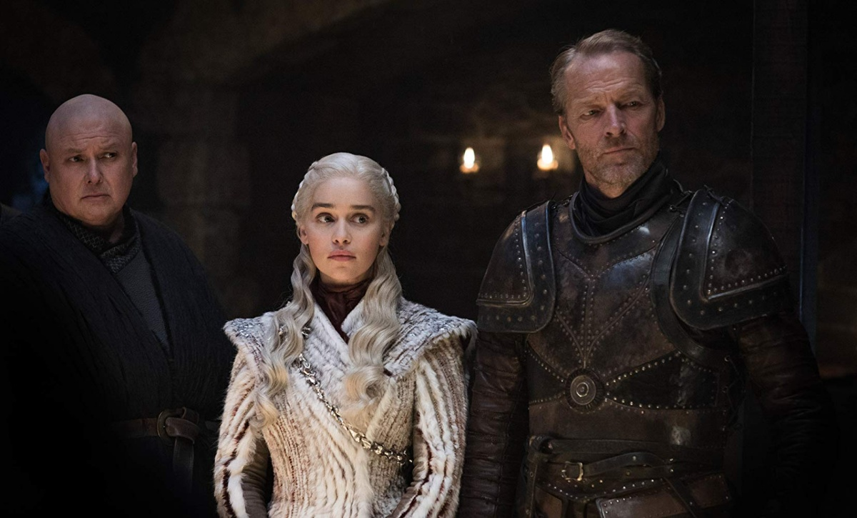 Iain Glen, Conleth Hill, and Emilia Clarke in Game of Thrones (2011)