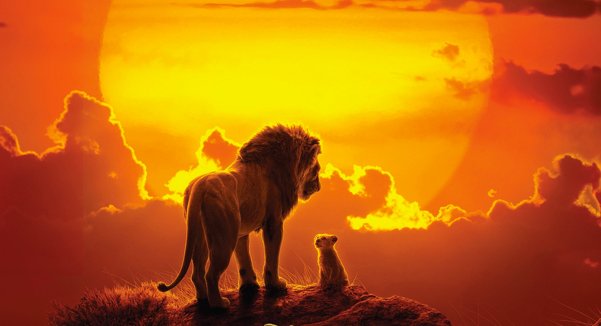 Mufasa and Simba look out over the Pridelands in the poster for The Lion King.