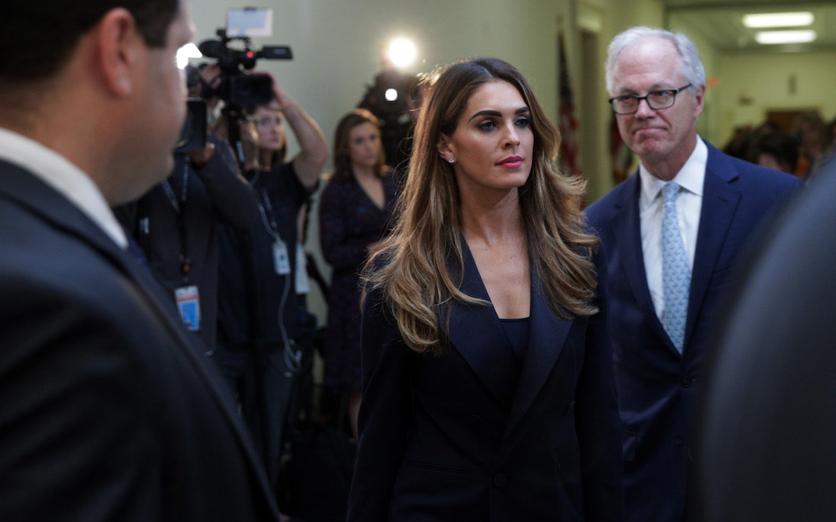 Former White House communications director Hope Hicks arrives at a closed-door interview with the House Judiciary Committee