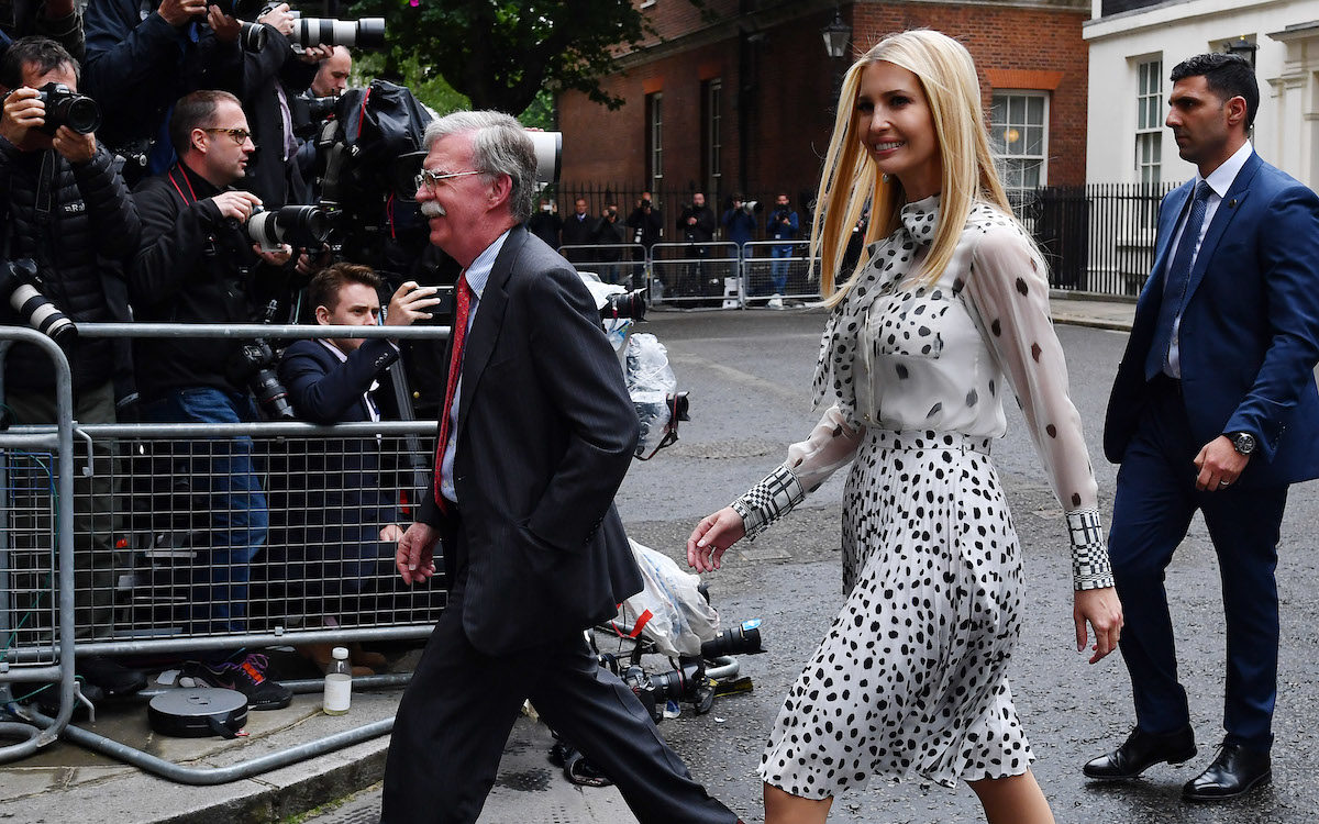 John Bolton, US National Security Advisor, and Ivanka Trump leave 10 Downing Street.