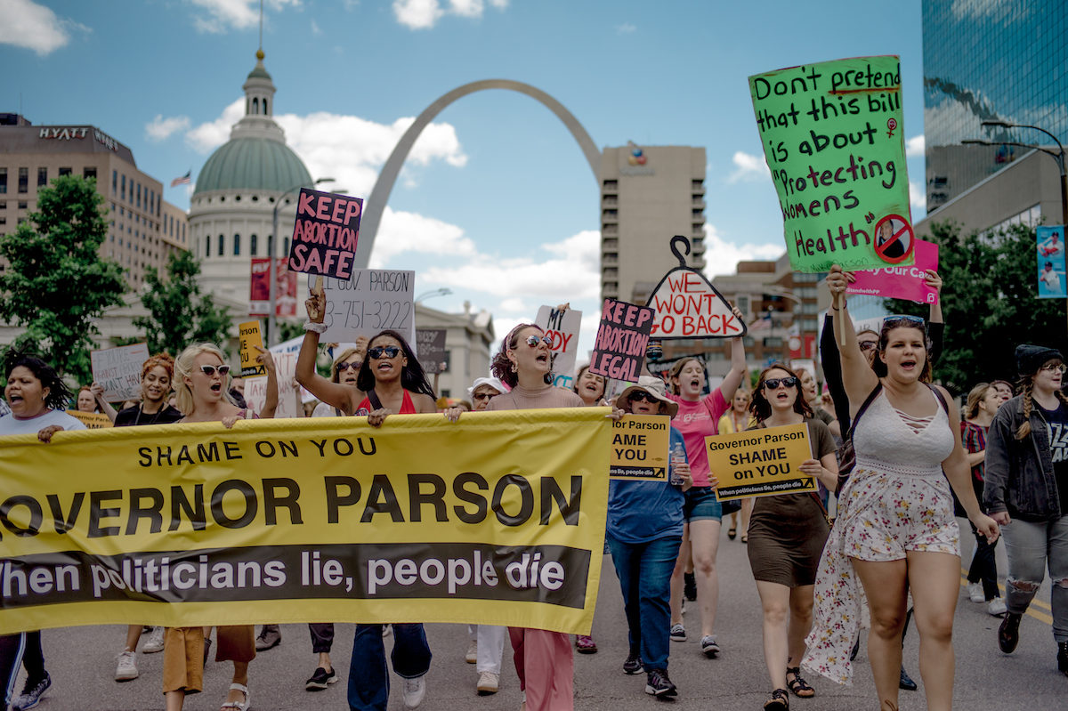 Pro-choice protestors march in downtown St. Louis, Missouri.