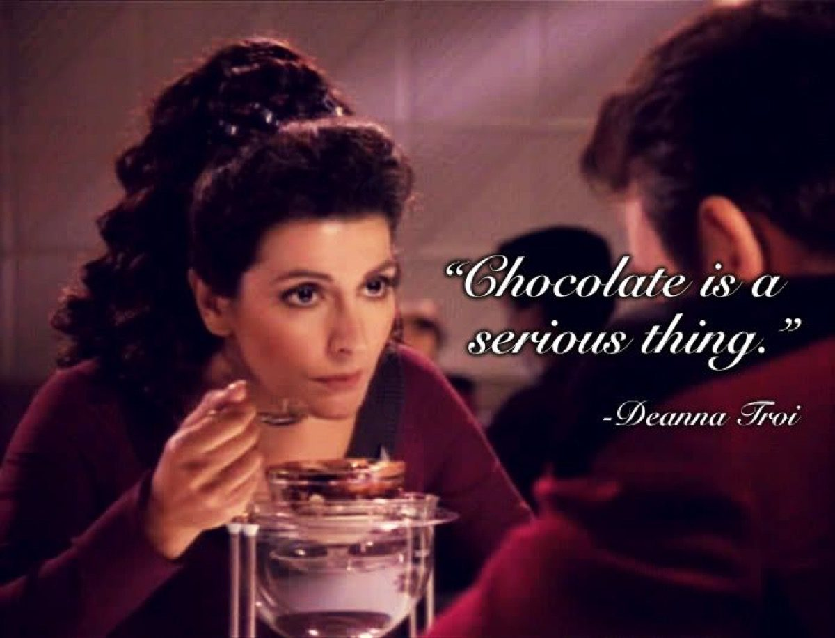 Deanna Troi, loving some chocolate on CBS's Star Trek: The Next Generation.