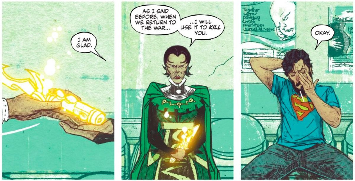 Mister Miracle comic panels.