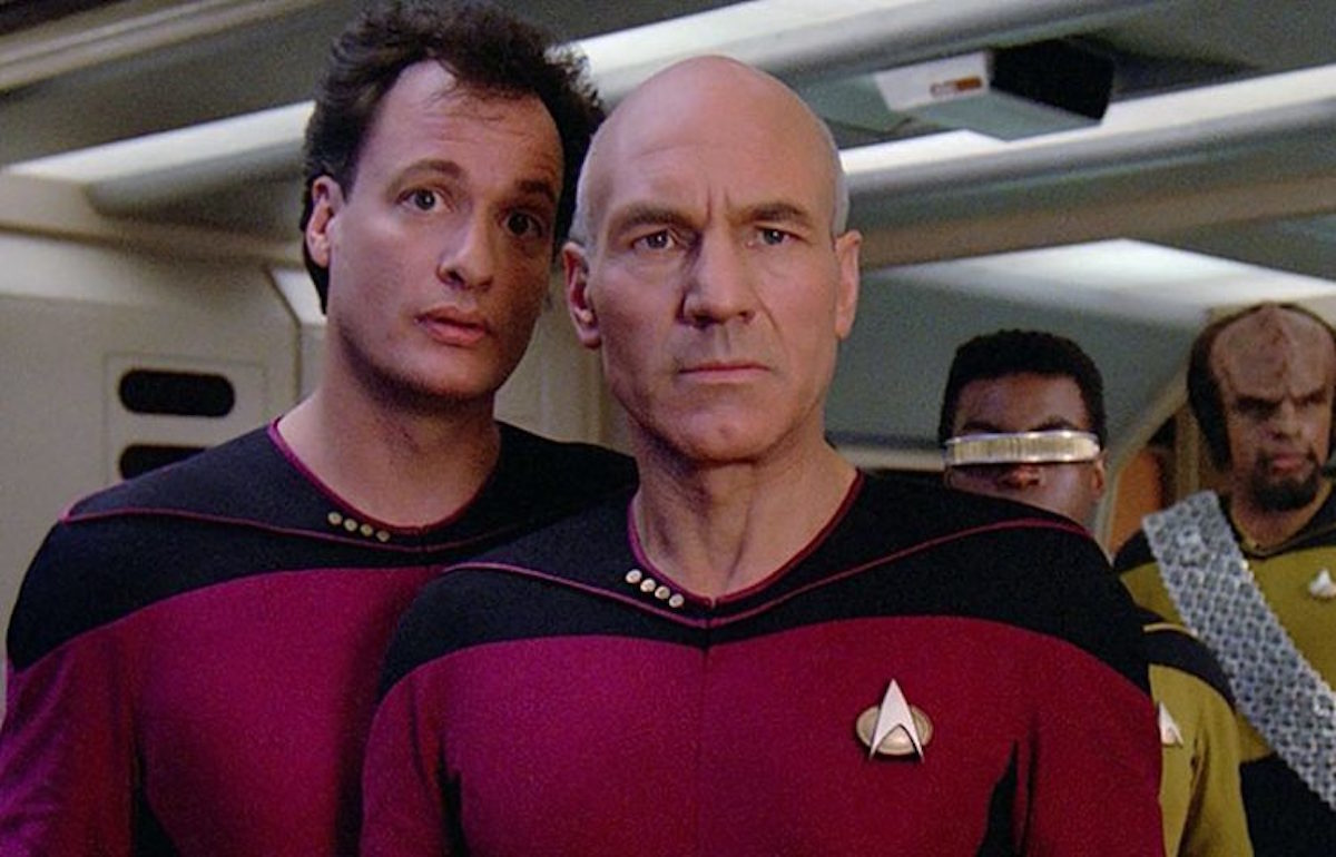 Q and Picard on Star Trek: The Next Generation