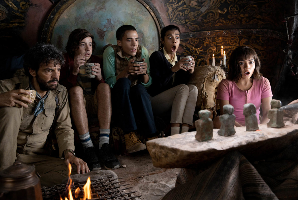 "L-R, Eugenio Derbez, Nicholas Coombe, Jeffrey Wahlberg, Madeleine Madden and Isabela Moner star in Paramount Pictures' ""DORA AND THE LOST CITY OF GOLD."""