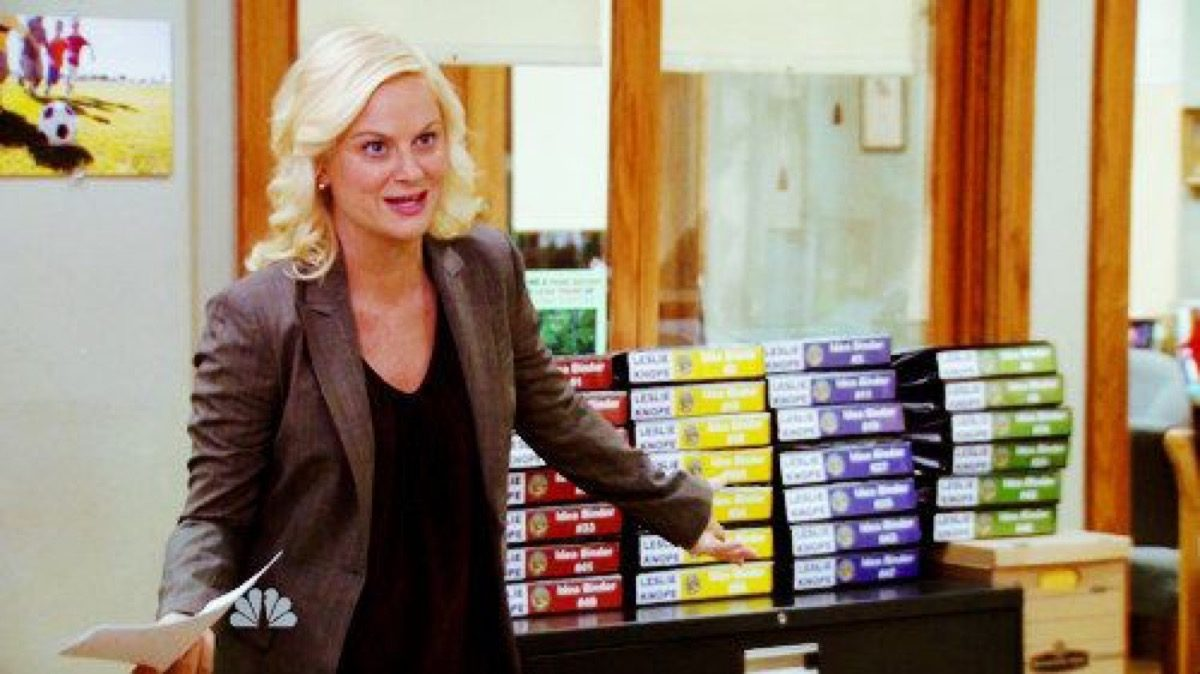 Leslie Knope gestures to a mountain of color-coded binders.