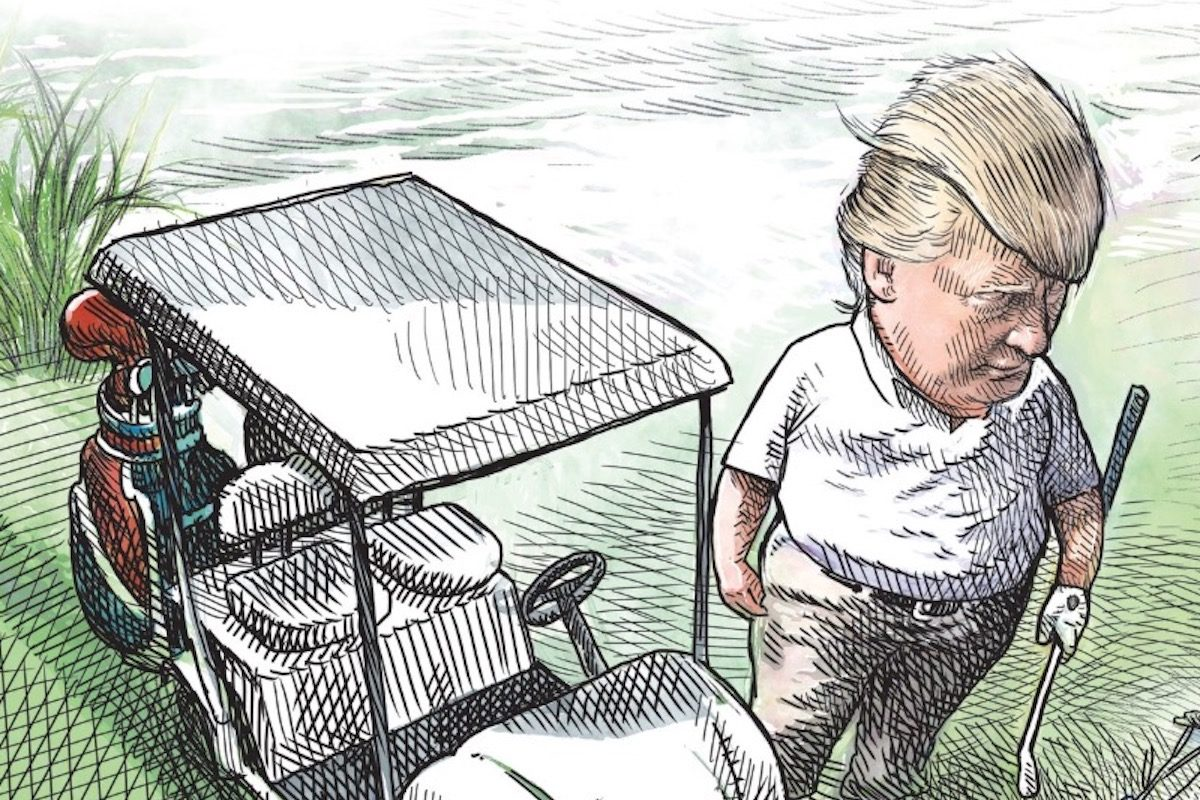 A cropped cartoon of Trump playing golf.