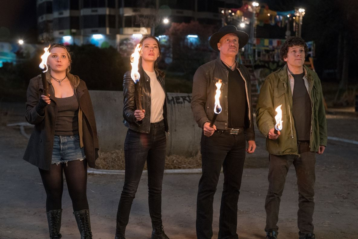 Little Rock (Abigail Breslin), Wichita (Emma Stone), Tallahassee (Woody Harrelson) and Columbus (Jesse Eisenberg) in Columbia Pictures' ZOMBIELAND: DOUBLE TAP.